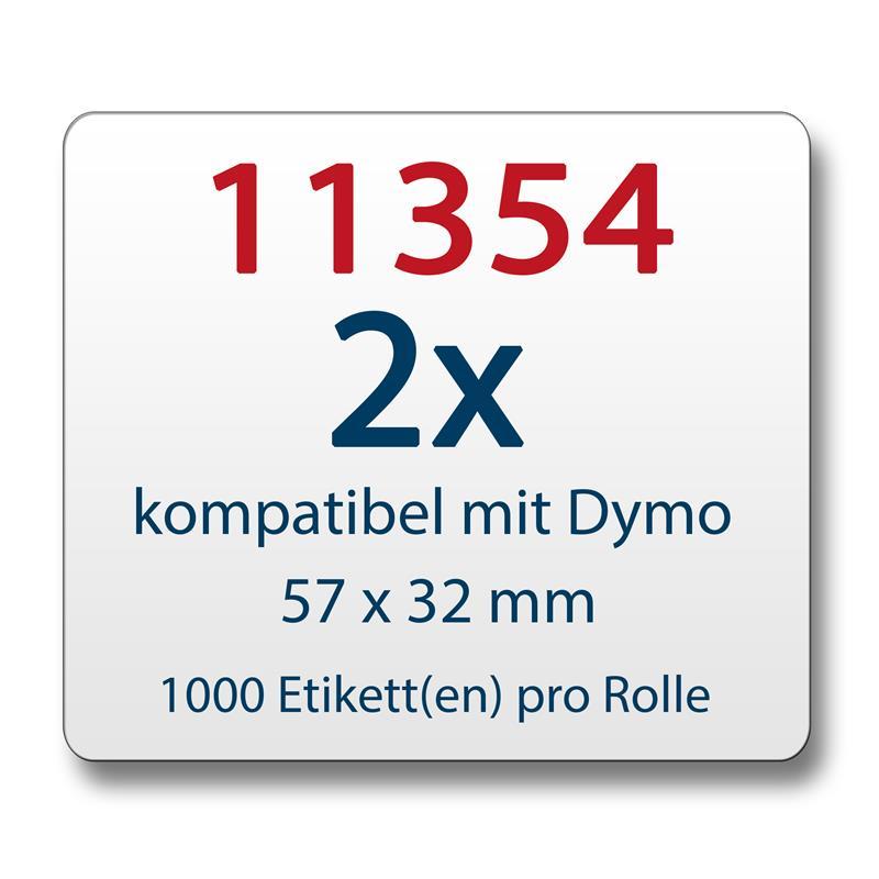 2x-Label-kompat-zu-Dymo-11354-57-x-32-mm-1000-Label-Etiketten-pro-Rolle