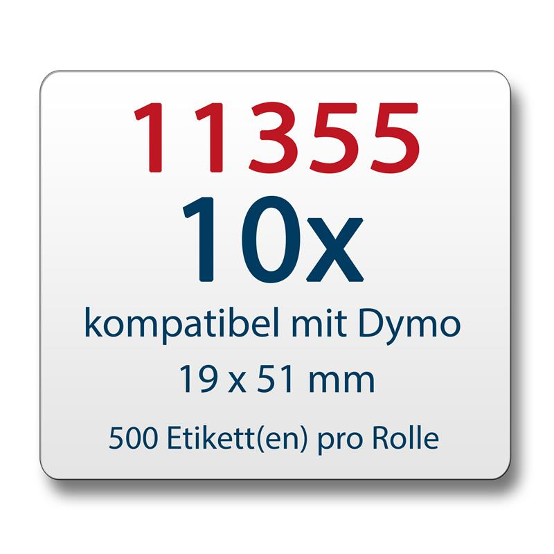 10x-Label-kompat-zu-Dymo-11355-19-x-51-mm-500-Label-Etiketten-pro-Rolle