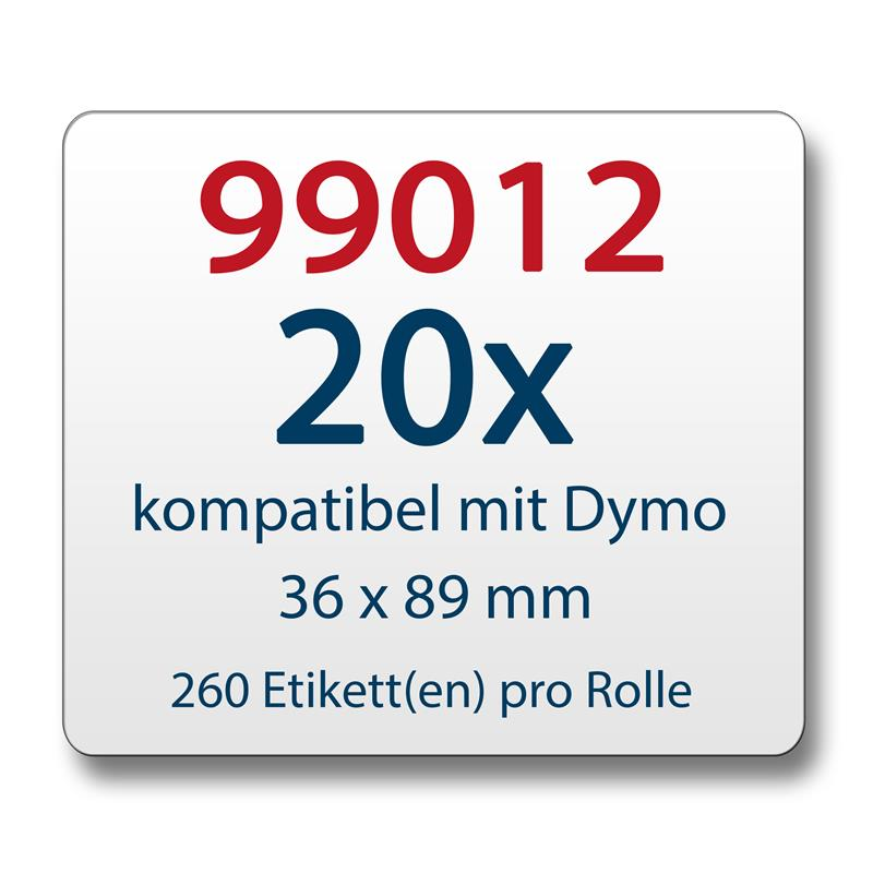 20x-Label-kompat-zu-Dymo-99012-36-x-89-mm-260-Label-Etiketten-pro-Rolle