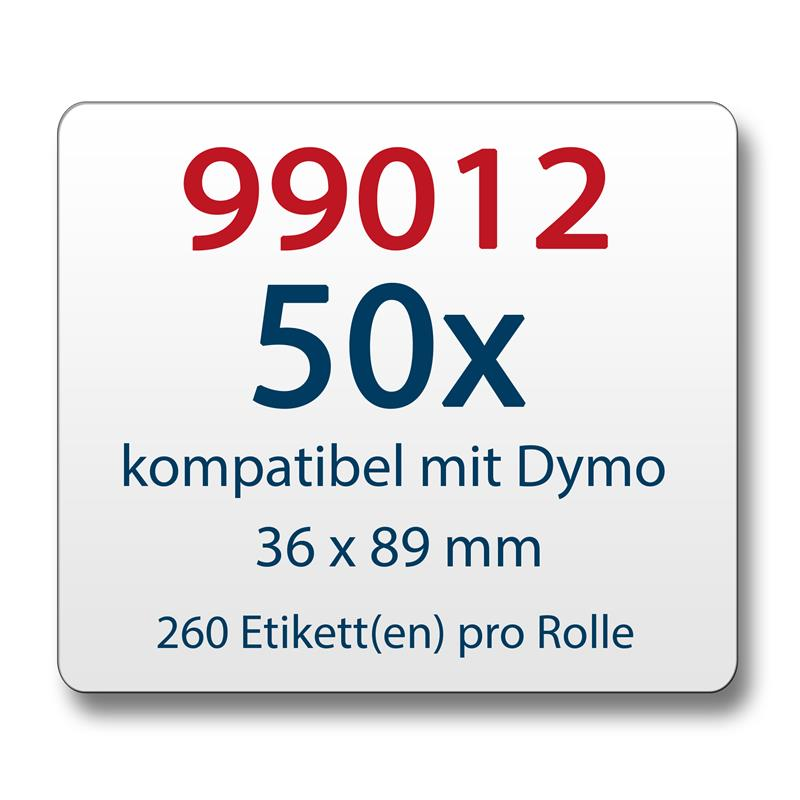 50x-Label-kompat-zu-Dymo-99012-36-x-89-mm-260-Label-Etiketten-pro-Rolle