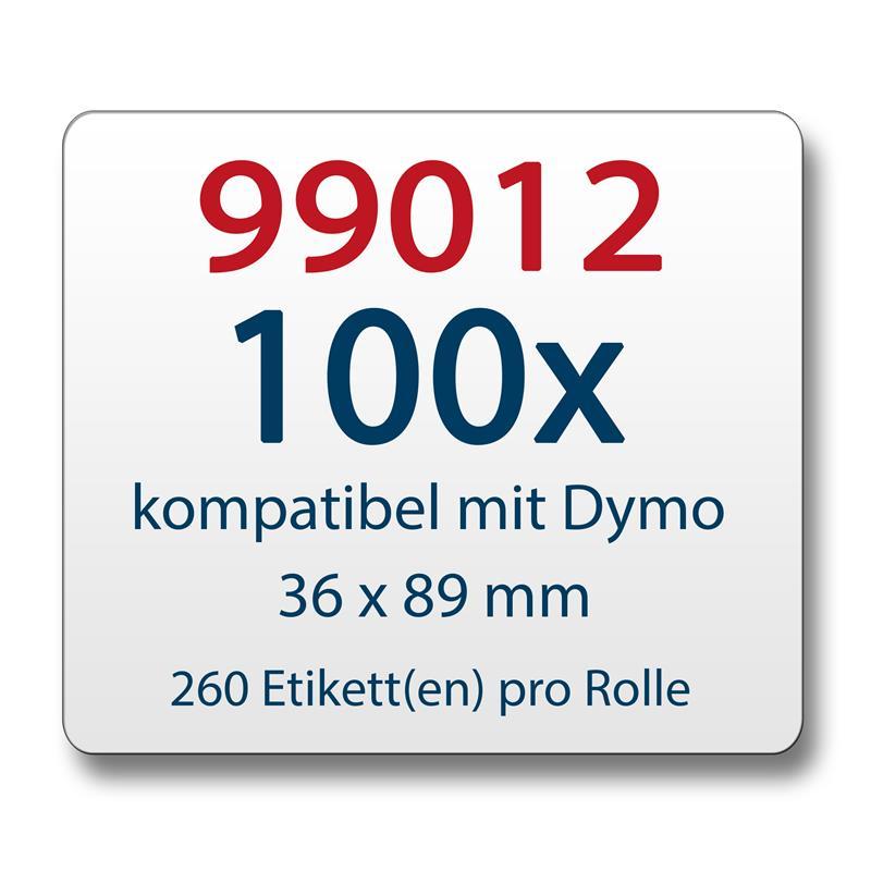100x-Label-kompat-zu-Dymo-99012-36-x-89-mm-260-Label-Etiketten-pro-Rolle