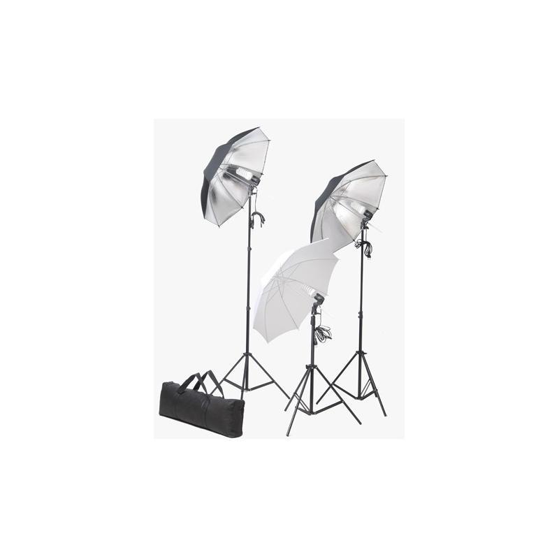 Fotostudio-Set-mit-3x-Lampen-Stative-Schirme