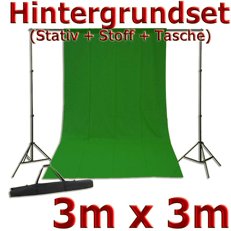 Fotostudio-Set-mit-Hintergrundstativ-Stoff-3x3m-300x300cm-gruen