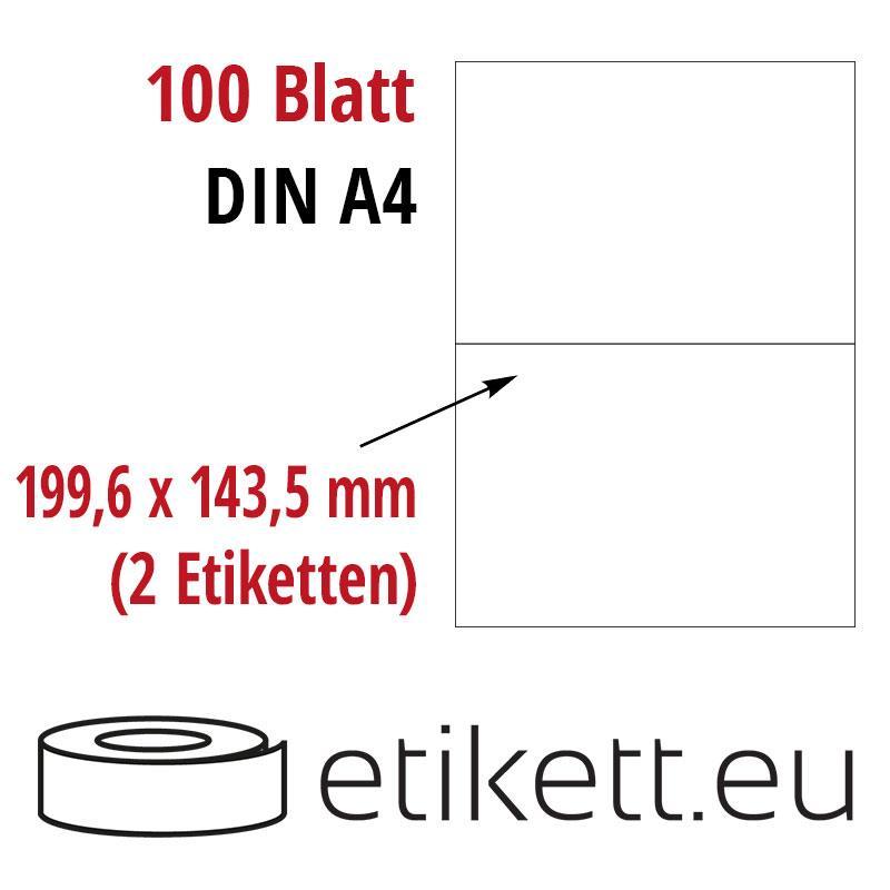 Klebeetiketten DIN A4 weiß 199,6x143,5mm (Laser,Inkjet,Kopierer) 100 Blatt