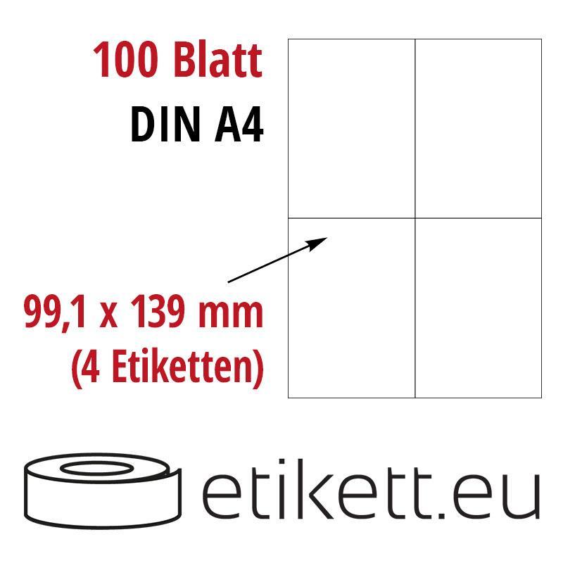 Klebeetiketten DIN A4 weiß 99,1x139mm (Laser,Inkjet,Kopierer) 100 Blatt