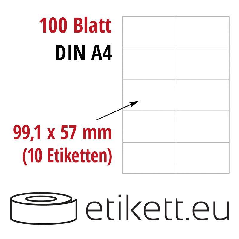 Klebeetiketten DIN A4 weiß 99,1x57mm (Laser,Inkjet,Kopierer) 100 Blatt