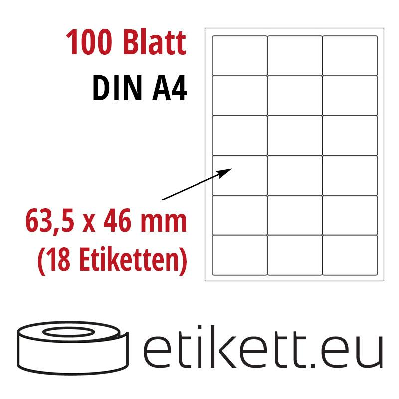 Klebeetiketten DIN A4 weiß 63,5x46mm (Laser,Inkjet,Kopierer) 100 Blatt