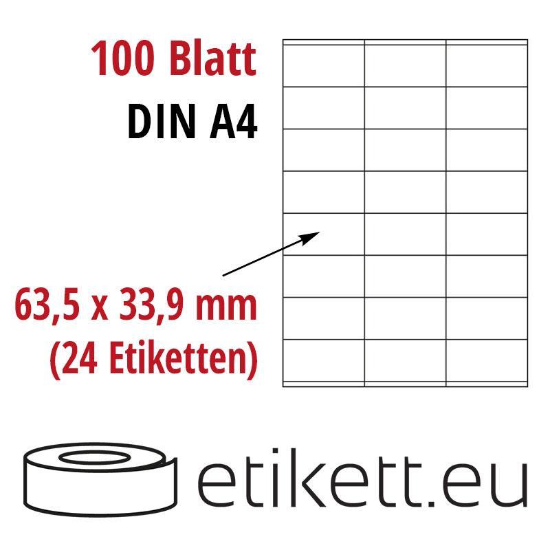 Klebeetiketten DIN A4 weiß 63,5x33,9mm (Laser,Inkjet,Kopierer) 100 Blatt