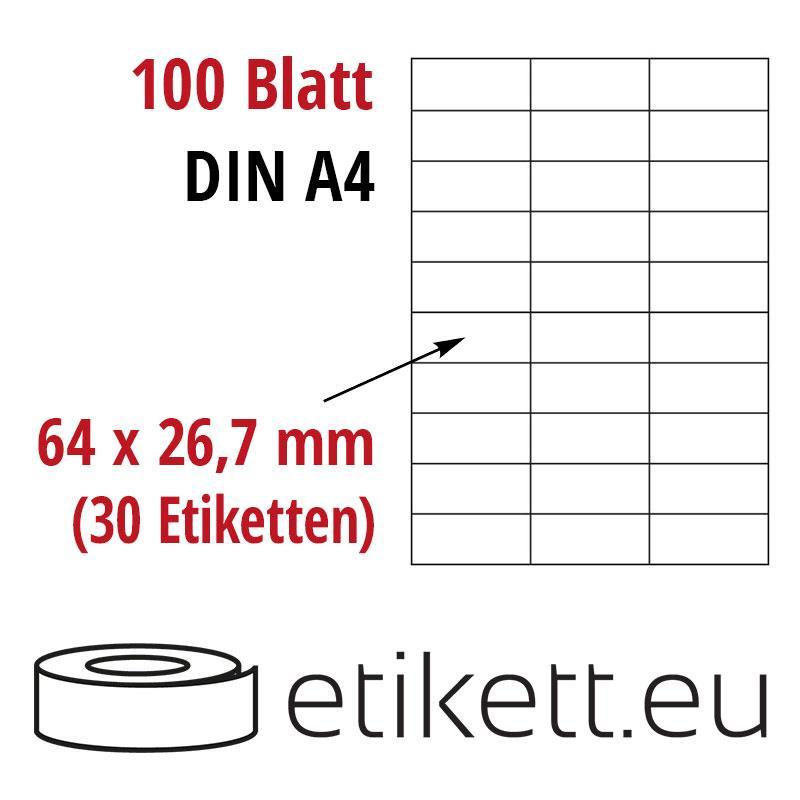 Klebeetiketten DIN A4 weiß 64x26,7mm (Laser,Inkjet,Kopierer) 100 Blatt