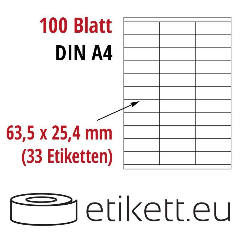 Klebeetiketten DIN A4 weiß 63,5x25,4mm (Laser,Inkjet,Kopierer) 100 Blatt
