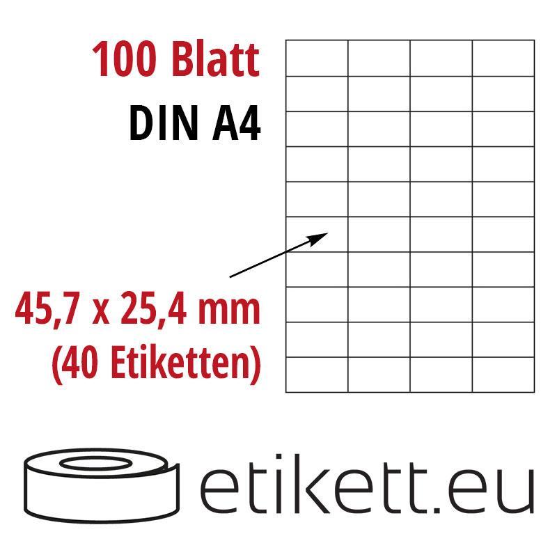 Klebeetiketten DIN A4 weiß 45,7x25,4mm (Laser,Inkjet,Kopierer) 100 Blatt