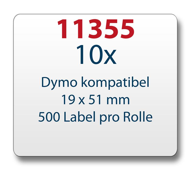 10x-Label-kompat-zu-Dymo-11355-19-x-51-mm-500-Label-Etiketten-pro-Rolle