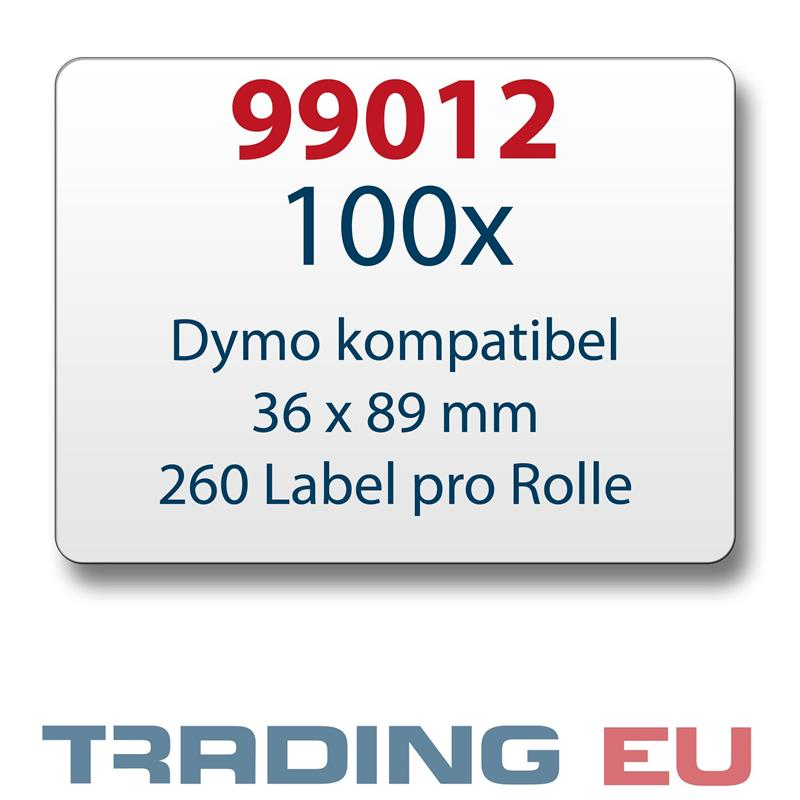 100x-Label-kompat-zu-Dymo-99012-36-x-89-mm-260-Label-Etiketten-pro-Rolle