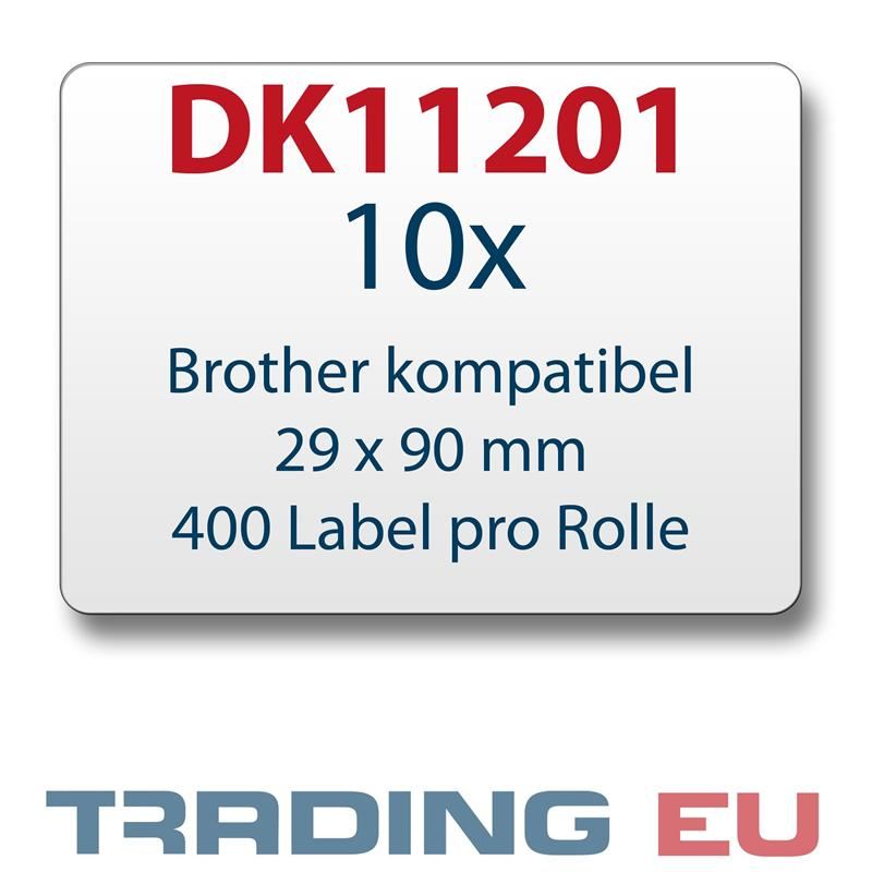 10x Label kompat. zu Brother DK11201 29 x 90 mm 400 Label