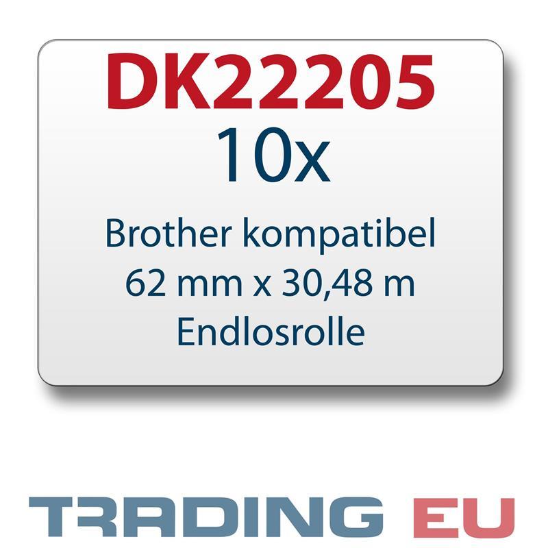 10x Label kompat. zu Brother DK22205 62 mm x 30,48 m endlos