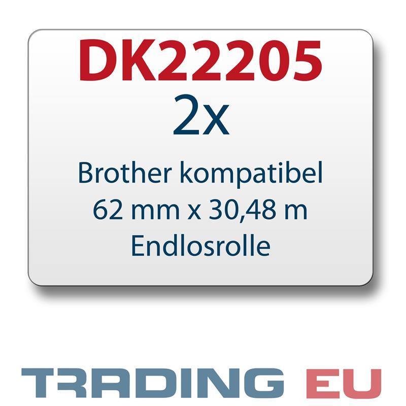 2x Label kompat. zu Brother DK22205 62 mm x 30,48 m endlos