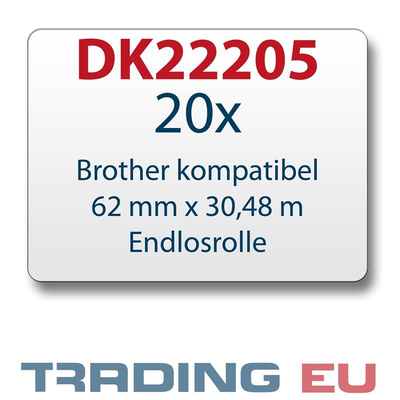 20x Label kompat. zu Brother DK22205 62 mm x 30,48 m endlos