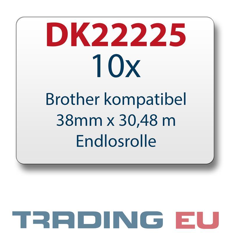 10x Label kompat. zu Brother DK22225 38 mm x 30,48 m endlos